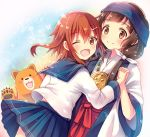 2girls ;d bandanna blue_sailor_collar blue_skirt bow brown_eyes brown_hair fangs floating_hair hair_bow hakama hand_holding ikazuchi_(kantai_collection) interlocked_fingers japanese_clothes kantai_collection kimono kumai_natsu kumamiko long_hair long_sleeves looking_at_viewer miniskirt multiple_girls one_eye_closed open_mouth pleated_skirt red_hakama sailor_collar school_uniform serino_itsuki shirt short_hair skirt smile white_bow white_kimono white_shirt