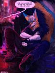 2018 5_fingers angiewolf anthro black_nose blue_fur blurred_background brown_background canine clothed clothing digital_media_(artwork) fox fur hair male mammal night orange_fur outside raining simple_background sitting solo white_fur white_hair