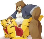 anal bear blush bottomless clothed clothing colored cum cum_in_ass cum_inside erection feline juuichi_mikazuki male male/male mammal morenatsu orgasm penis pomupomu490 simple_background tiger torahiko_(morenatsu) white_background