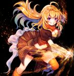 1girl ahoge black_background black_shorts blonde_hair blue_hair boots breasts brown_footwear cleavage clenched_hand crop_top eyebrows_visible_through_hair floating_hair gauntlets grin hair_between_eyes long_hair looking_at_viewer medium_breasts midriff multicolored_hair navel orange_scarf purple_eyes rwby scarf serino_itsuki short_shorts shorts smile solo stomach thighhighs two-tone_hair very_long_hair yang_xiao_long yellow_legwear