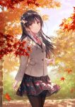 1girl autumn_leaves black_hair black_legwear blazer blush brown_eyes brown_shirt commentary_request cropped_legs fukahire_(ruinon) hair_ornament hairclip jacket long_hair looking_at_viewer necktie original pantyhose plaid plaid_skirt shirt skirt smile solo wind