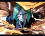 1other androgynous angry colored_eyelashes cracked crazy_eyes crying crying_with_eyes_open crystal_hair gem_uniform_(houseki_no_kuni) gold green_eyes green_hair houseki_no_kuni issa_(zgjj7328) letterboxed looking_at_viewer necktie phosphophyllite short_hair solo tears upper_body user_zgjj7328 white_skin