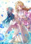 2girls angel_wings bangs blue_hair blush butterfly_hair_ornament flower frills grey_hair hair_between_eyes hair_flower hair_ornament hand_holding interlocked_fingers long_hair looking_at_another love_live! love_live!_school_idol_festival love_live!_school_idol_project maronie. minami_kotori multiple_girls one_side_up open_mouth petals sleeveless smile sonoda_umi standing standing_on_liquid water wings yellow_eyes