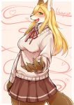 1girl blonde_hair fox furry kikunoya long_hair school_uniform solo