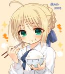 1girl :t ahoge artoria_pendragon_(all) blonde_hair blue_bow blush bow bowl braid brown_background chopsticks clostridium_tetani collared_shirt eating fate/stay_night fate_(series) fingernails food food_on_face green_eyes hair_bow holding holding_bowl holding_chopsticks long_hair long_sleeves marshmallow_mille rice rice_bowl rice_on_face saber shirt sidelocks solo twitter_username white_shirt