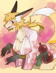 1girl blonde_hair fox furry japanese_clothes long_hair purple_eyes sekobi solo