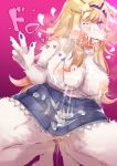 1girl blonde_hair breasts dog fellatio furry long_hair nipples one_eye_closed oral penis solo