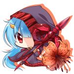 1girl bangs black_cape black_flower blue_hair brown_flower cape chibi closed_mouth commentary_request eyebrows_visible_through_hair fingerless_gloves flower flower_knight_girl full_body gloves hair_between_eyes holding holding_spear holding_weapon hood hood_up hooded_cape horn long_hair looking_at_viewer object_namesake oniyuri_(flower_knight_girl) polearm red_eyes shachoo. shadow solo spear very_long_hair weapon white_background
