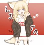 1girl :o animal_ears black_jacket blonde_hair blue_eyes character_name claw_pose dog_ears dog_tail gradient gradient_background hand_in_pocket highres hood hoodie jacket kmnz long_hair long_sleeves mc_lita no_pants open_clothes open_jacket paw_background red_background shizu_(huuhime0531) signature simple_background tail virtual_youtuber white_background white_hoodie