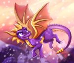 2018 claws detailed_background digital_media_(artwork) dragon feral horn ketty-leopardess membranous_wings purple_eyes scalie smile solo spines spyro spyro_the_dragon video_games western_dragon wings