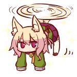 1girl animal_ear_fluff animal_ears bangs bell bell_collar blonde_hair blush brown_collar brown_footwear closed_mouth collar eyebrows_visible_through_hair fox_ears fox_girl fox_tail full_body green_shirt hair_between_eyes hair_bun hair_ornament helicopter_tail jingle_bell kemomimi-chan_(naga_u) long_sleeves looking_at_viewer naga_u orange_neckwear original pleated_skirt purple_skirt red_eyes ribbon-trimmed_legwear ribbon_trim shirt sidelocks simple_background skirt sleeves_past_fingers sleeves_past_wrists solo sparkle tail thighhighs white_background white_legwear