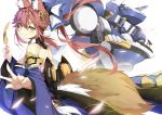 1girl absurdres animal_ear_fluff animal_ears bare_shoulders blue_kimono breasts detached_sleeves fang fate/grand_order fate_(series) fox_ears fox_girl fox_tail highres japanese_clothes jie_laite kimono large_breasts mecha pink_hair robot simple_background solo tail tamamo_(fate)_(all) tamamo_no_mae_(fate) white_background yellow_eyes