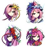 4girls collared_shirt flower grin hair_ornament hat hata_no_kokoro highres ibaraki_kasen kaliningradg komeiji_satori leaf mask multiple_girls open_mouth pink_eyes pink_hair plant ribbon rose saigyouji_yuyuko shirt short_hair smile smug tabard tagme touhou triangular_headpiece vines