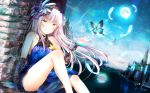 1girl 2018 artist_name bang_dream! bare_shoulders blue_dress blue_flower blush bug butterfly collarbone commentary_request dated dress eyebrows_visible_through_hair feathers floral_print flower full_moon gothic_lolita hair_flower hair_ornament hairband hand_up highres insect lolita_fashion long_hair masa_(mirage77) minato_yukina moon night outdoors partial_commentary reflection silver_hair sitting sky solo star star_(sky) starry_sky thighs wallpaper yellow_eyes