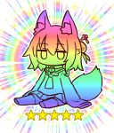 1girl animal_ear_fluff animal_ears bangs bell bell_collar chibi closed_mouth collar eyebrows_visible_through_hair fox_ears fox_girl fox_tail hair_between_eyes hair_bun hair_ornament jingle_bell jitome kemomimi-chan_(naga_u) long_sleeves looking_at_viewer naga_u original pleated_skirt rainbow_background sailor_collar shirt sitting skirt sleeves_past_fingers sleeves_past_wrists solo sparkle star tail thighhighs