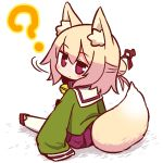 1girl ? animal_ear_fluff animal_ears bangs bell bell_collar blonde_hair blush brown_collar collar eyebrows_visible_through_hair fox_ears fox_girl fox_tail full_body green_shirt hair_between_eyes hair_bun hair_ornament jingle_bell kemomimi-chan_(naga_u) long_hair long_sleeves looking_at_viewer looking_back naga_u original pleated_skirt purple_skirt red_eyes red_footwear sailor_collar shadow shirt sidelocks sitting skirt sleeves_past_fingers sleeves_past_wrists solo tail tail_raised white_background white_legwear white_sailor_collar