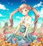 1girl :d ahoge aqua_dress aqua_ribbon blue_sky brown_eyes brown_hair cloud collarbone daisy day dress eyebrows_visible_through_hair field floating_hair flower flower_field frilled_dress frills hair_flower hair_ornament hair_ribbon hakozaki_serika idolmaster idolmaster_million_live! long_hair open_mouth outdoors pink_flower ribbon serino_itsuki short_sleeves skirt_hold sky smile solo standing sundress twintails very_long_hair white_flower yellow_cardigan yellow_flower