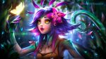 1girl ayya_saparniyazova breasts bug butterfly cleavage dark_blue_hair flower green_skin hair_flower hair_ornament insect league_of_legends lizard_girl lizard_tail medium_breasts multicolored multicolored_hair multicolored_skin neeko_(league_of_legends) pink_hair slit_pupils tagme tail yellow_eyes