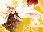 beatrice blonde_hair blue_eyes board_game butterfly chess clock dress flower formal hair_ornament jacket pipe red_hair redhead ribbon umineko_no_naku_koro_ni ushiromiya_battler