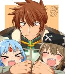 >_< 2girls ^_^ blue_hair blush_stickers brown_hair closed_eyes commentary dated el_mofus_(rance_10) eyes_closed family father_and_daughter forehead_jewel long_hair multiple_girls open_mouth rance rance_(series) rance_10 reset_kalar sharp_teeth short_hair sicosour2 smile teeth