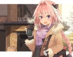astolfo_(fate) bag black_bow black_ribbon black_shirt bow braid brand_name_imitation brown_coat coat coffee coffee_cup commentary cropped cup disposable_cup fang fate/apocrypha fate_(series) fur_coat gloves hair_intakes hair_ribbon highres kusumoto_touka long_braid long_hair long_sleeves looking_at_viewer male_focus multicolored_hair open_mouth otoko_no_ko pink_hair purple_eyes ribbon scarf shirt single_braid smile solo streaked_hair trap white_gloves