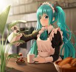 apron aqua_eyes aqua_hair aqua_nails aqua_neckwear bangs banned_artist basket black_ribbon black_shirt blurry blurry_background blurry_foreground blush bokeh breasts cake closed_mouth collared_shirt commentary_request cup day depth_of_field food frills hair_between_eyes hair_ornament hair_ribbon hatsune_miku holding indoors juliet_sleeves kettle long_hair long_sleeves looking_at_viewer maid maid_apron maid_headdress mug nail_polish neckerchief plant puffy_sleeves ribbon shirt sidelocks smile solo table very_long_hair victorian_maid vocaloid white_apron yuuka_nonoko