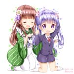 2girls :d ^_^ ama_usa_an_uniform apron blush brown_hair closed_eyes collared_shirt commentary_request creator_connection dated flower flying_sweatdrops formal gochuumon_wa_usagi_desu_ka? green_kimono hair_flower hair_ornament hand_up holding holding_hair jacket japanese_clothes kimono kneehighs kneeling long_hair long_sleeves maid_apron manga_time_kirara multiple_girls neck_ribbon new_game! no_shoes open_mouth pink_ribbon polka_dot polka_dot_trim purple_eyes purple_hair purple_jacket purple_skirt ribbon shirt skirt skirt_suit smile star striped suit suzukaze_aoba twintails twitter_username ujimatsu_chiya vertical-striped_kimono vertical_stripes very_long_hair white_apron white_flower white_legwear white_shirt wide_sleeves zenon_(for_achieve)