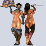 1girl 2girls 3d a_reyko abs absurdres ass back bare_back black_hair blue_gloves breasts brown_eyes busty cleavage curvy female gloves gold highres hips holding_object hourglass_figure huge_ass jewelry kitana mask mileena mortal_kombat multiple_girls navel nipples nude pink_gloves shiny shiny_skin silver_armor solo stockings stomach thick_thighs thighs tiara topless weapon wide_hips