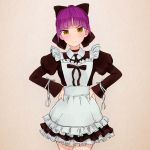 akagi_(fmttps) alternate_costume apron artist_name ascot bangs black_bow black_choker black_neckwear blush bow brown_background cat_girl choker closed_mouth collared_dress commentary dress enmaided eyebrows_visible_through_hair frilled_apron frilled_dress frills frown gegege_no_kitarou hair_bow hands_on_hips juliet_sleeves long_sleeves looking_at_viewer maid maid_apron nekomusume nekomusume_(gegege_no_kitarou_6) petticoat pointy_ears puffy_sleeves purple_hair short_dress short_hair solo standing twitter_username v-shaped_eyebrows yellow_eyes