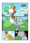 2018 anthro big_butt bouncing_butt butt butt_focus comic dialogue english_text erection green_yoshi kamek komdog koopa male mario_bros nintendo nude penis scalie text translated uncut video_games wide_eyed yoshi