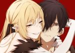 araragi_koyomi blonde_hair brown_eyes brown_hair close elbow_gloves gloves hug kissshot_acerolaorion_heartunderblade kizumonogatari long_hair male monogatari_(series) ntend orange_eyes oshino_shinobu pointed_ears red ribbons