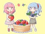 :d bang_dream! bangs bd_ayknn blue_hair blueberry blush collared_dress commentary_request doily dress eyebrows_visible_through_hair food frilled_dress frilled_sleeves frills fruit full_body grey_dress hair_down hair_ribbon hairband holding holding_food holding_fruit light_blue_hair long_hair lying maruyama_aya matsubara_kanon minigirl multiple_girls on_side open_mouth outline pinafore_dress pink_eyes pink_hair plaid plaid_dress purple_eyes red_footwear red_ribbon ribbon short_sleeves sidelocks simple_background sleeveless sleeveless_dress smile standing strawberry striped striped_dress tart_(food) unmoving_pattern white_footwear white_hairband white_outline yellow_background