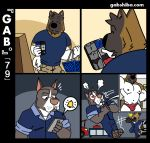 3_toes 5_fingers anthro bell black_border black_countershading black_fur black_nose blush border brown_fur brown_tail bulge canine car cheek_tuft clothed clothing comic countershade_face countershade_tail countershade_torso countershading cutaway dog duo emanata eyebrows fully_clothed fur gabshiba grey_fur grin holding_object holding_phone hyena inside looking_down male male/male mammal mechanic motion_lines multicolored_fur nipples open_mouth open_smile overalls pawpads phone pictographics pink_pawpads pit_bull pubes rolled_up_sleeves ruff_bull selfie shirt shopping_basket smile solo standing t-shirt tenting toes topless tuft two_tone_fur two_tone_tail underwear vehicle voff_akita white_countershading white_fur white_tail