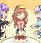 :3 :d ^_^ aqua_hair bang_dream! bangs bd_ayknn birthday_cake black_hair blush bracelet brown_hair cake closed_eyes crown eyes_closed flying_sweatdrops food fork frown green_eyes half_updo happy_birthday highres hikawa_sayo imai_lisa jewelry jitome lavender_hair long_hair minato_yukina miniskirt multiple_girls necklace open_mouth pink_shirt pointing pointing_at_self purple_eyes purple_hair red_eyes roselia_(bang_dream!) shirokane_rinko shirt short_sleeves single_arm_warmer sitting skirt smile t-shirt twintails udagawa_ako v-shaped_eyebrows watch wristwatch yellow_eyes