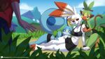 2019 alanscampos anthro anthrofied black_eyes blue_eyes blue_skin breasts clothed clothing female fur green_fur grookey hi_res human lying male mammal navel nintendo on_side outside pinup pokémon pokémon_(species) pose red_eyes scorbunny seductive sitting smile sobble video_games white_fur