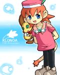 animal_humanoid blue_eyes bubble claws clothing duo female g-sun green_eyes hands_behind_back hat humanoid klonoa_(series) lolo low_res open_mouth popka simple_background standing video_games