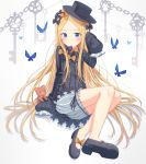 1girl abigail_williams_(fate/grand_order) absurdres animal bangs black_bow black_dress black_footwear black_hat blonde_hair bloomers blue_eyes blush bow bug butterfly chains closed_mouth commentary_request dress fate/grand_order fate_(series) forehead hair_bow hand_up hat highres insect key long_hair long_sleeves looking_at_viewer mary_janes orange_bow parted_bangs polka_dot polka_dot_bow shoes sitting sleeves_past_fingers sleeves_past_wrists solo stuffed_animal stuffed_toy teddy_bear underwear very_long_hair white_bloomers xue_lu