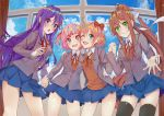 4girls :d :o ;d black_legwear blue_eyes blue_skirt blue_sky bow brown_hair cloud commentary day doki_doki_literature_club english_commentary eyebrows_visible_through_hair green_eyes grey_jacket hair_bow hair_ribbon hand_holding indoors interlocked_fingers jacket long_hair looking_at_viewer monika_(doki_doki_literature_club) multiple_girls natsuki_(doki_doki_literature_club) one_eye_closed open_clothes open_jacket open_mouth pink_eyes pink_hair pleated_skirt ponytail purple_eyes purple_hair red_bow ribbon sayori_(doki_doki_literature_club) school_uniform short_hair skirt sky smile thighhighs two_side_up very_long_hair white_ribbon window xhunzei yuri_(doki_doki_literature_club)