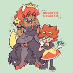 2girls absurdres artist_name bangs black_dress black_footwear black_legwear black_nails bowsette bracelet breasts chaos_emerald character_name cleavage collar crossover crown dark_skin dress eggette glasses gloves green_background height_difference high_heels highres horns jewelry looking_at_viewer looking_back mario_(series) medium_breasts multiple_girls nail_polish new_super_mario_bros._u_deluxe nintendo open_mouth pointy_ears ponytail puffy_short_sleeves puffy_sleeves red_footwear red_hair sendoki sharp_teeth short_sleeves simple_background smile sonic_mania sonic_the_hedgehog spiked_armlet spiked_bracelet spiked_collar spiked_tail spikes star strapless strapless_dress super_crown tail teeth tiara white_gloves