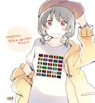 1girl adjusting_clothes adjusting_hat bangs baseball_cap black_hair blush brown_eyes commentary_request hand_on_hip hat hood hood_down hooded_jacket jacket long_sleeves looking_at_viewer low_twintails original print_shirt shirt short_twintails signature simple_background solo t-shirt taneda_yuuta translation_request twintails upper_body watch wavy_mouth white_background white_shirt wristwatch yellow_jacket