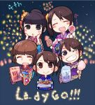 5girls :> ^_^ bangs black_hair blue_kimono blush_stickers brown_hair candy_apple closed_eyes cotton_candy eyes_closed fang fireworks floral_print food grin hair_ornament hands_on_own_cheeks hands_on_own_face holding holding_food japanese_clothes kanzashi kimono komatsu_mikako mikami_shiori multiple_girls obi one_eye_closed ookubo_rumi plaid_kimono ponytail real_life sash seiyuu side_ponytail sidelocks skewer smile squid striped striped_kimono takamori_natsumi taneda_yuuta uesaka_sumire