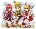 3girls :d aqua_eyes arm_at_side armlet armor armored_dress axe bag bare_shoulders black_choker black_legwear blonde_hair blush blush_stickers bonnet boots bow bracelet braid breasts brown_eyes choker cleavage closed_mouth cloud collarbone cordelia_(saga) corset cowboy_shot cropped_legs cross-laced_clothes day dress dutch_angle elbow_gloves eyebrows_visible_through_hair fantasy floral_background flower from_side gauntlets gloves grass green_eyes green_hair hair_bow hair_ornament hair_ribbon hand_on_hip happy head_scarf janne1230 jewelry knee_boots legwear_under_shorts light_green_hair light_smile long_hair looking_at_viewer looking_away lying medium_breasts midriff multi-tied_hair multiple_girls one_eye_closed open_mouth outdoors pantyhose polearm ponytail pouch premiere primiera_(saga) red_flower red_hair red_rose red_skirt ribbon rose saga saga_frontier_2 shorts skirt sky small_breasts smile solo spear staff thigh_boots thighhighs traditional_media twin_braids very_long_hair virginia_knights weapon