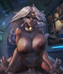 1boy 1girl absurdres aisha_clanclan animal_ears areolae assertive bell bell_collar braid braided_ponytail breasts circlet collar cowgirl_position cum cum_in_pussy curvy cut-in cutesexyrobutts dark_nipples facial_tattoo fangs fertilization girl_on_top green_eyes heart hetero highres huge_filesize impregnation inverted_nipples large_breasts nipples nude outlaw_star ovum paid_reward patreon_reward penis planet ponytail pov sex smile solo_focus space sperm_cell stomach straddling tattoo unaligned_breasts window wrist_grab