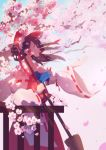 1girl arm_up blue_neckwear blue_sky bow broom brown_hair cherry_blossoms cowboy_shot cravat dappled_sunlight day detached_sleeves from_side hair_blowing hair_bow hair_tubes hakurei_reimu highres holding holding_broom hua_ben_wuming long_hair looking_up open_hand open_mouth outdoors parted_lips petals ponytail profile red_eyes red_skirt red_vest ribbon-trimmed_sleeves ribbon_trim sideways_mouth skirt sky solo standing sunlight touhou tree_branch vest wind