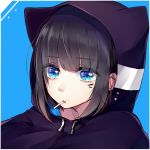 1girl animal_ears animal_hood bangs black_hair black_hoodie blue_background blue_eyes cat_ears cat_hood cigarette drawstring eyebrows_visible_through_hair facial_mark hair_between_eyes hood hood_up hoodie looking_at_viewer maria_(maria0304) mouth_hold original solo two-tone_background upper_body white_background