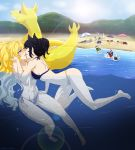 3boys 6+girls abs animal_ears beach bikini black_hair blake_belladonna blonde_hair blush breasts couple ilia_amitola jaune_arc kiss lie_ren long_hair multiple_boys multiple_girls nora_valkyrie pyrrha_nikos ruby_rose rwby sun_wukong_(rwby) swimming swimsuit weiss_schnee y8ay8a yang_xiao_long yuri