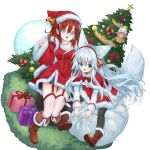 3girls :d animal_ear_fluff animal_ears bell black_legwear blue_eyes boots box breasts brown_footwear brown_hair capelet christmas christmas_ornaments christmas_tree commentary_request dress fox_ears fox_girl fox_tail fur-trimmed_boots fur-trimmed_capelet fur-trimmed_dress fur_trim gift gift_box hat highres long_hair long_sleeves minigirl multiple_girls open_mouth original pink_hair pointy_ears red_hair sack santa_boots santa_costume santa_hat shirt silver_hair sitting smile tail transparent_background waichi white_shirt
