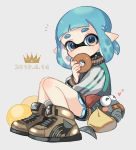 1girl 2019 ^_^ black_shorts blue_eyes blue_hair blush brown_footwear closed_eyes dated domino_mask doughnut eating eyes_closed food full_body heart holding holding_food inkling long_sleeves looking_at_viewer maco_spl mask pointy_ears salmonid shoes short_hair shorts smallfry_(splatoon) splatoon splatoon_(series) splatoon_2 tentacle_hair