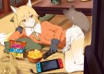 1girl afterimage alternate_legwear animal_ear_fluff animal_ears bag bow bowl bowtie breast_pocket chips coat commentary_request controller eating extra_ears eyebrows_visible_through_hair ezo_red_fox_(kemono_friends) food food_in_mouth fox_ears fox_tail fur_trim game_console gloves gradient_hair gradient_legwear kawayoshi kemono_friends long_hair long_sleeves lying multicolored multicolored_clothes multicolored_hair multicolored_legwear necktie nintendo_switch on_side orange_coat orange_eyes orange_hair orange_legwear orange_neckwear pillow plastic_bag pleated_skirt pocket remote_control skirt solo tail tail_wagging thighhighs white_hair white_legwear white_neckwear zettai_ryouiki
