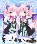 2boys ;d ankle_bow ankle_ribbon bangs between_legs black_bow black_footwear black_tail blue_sky bow capelet cloud cloudy_sky commentary_request company_name copyright_name cygames day demon_boy demon_horns demon_tail demon_wings dot_nose double-breasted flat_chest frilled_sleeves frills full_body fur-trimmed_capelet fur_trim gold_trim hand_holding heart heart-shaped_lock heart-shaped_pupils horns interlocked_fingers jumping legs legs_together light_blush logo long_hair looking_at_viewer male_focus multiple_boys official_art one_eye_closed open_mouth pantyhose pink_collar pink_hair pointy_ears raised_eyebrows reaching_out ribbon shingeki_no_bahamut short_hair sky smile striped symbol-shaped_pupils symmetry tail tail_between_legs take_your_pick thick_eyebrows trap v-shaped_eyebrows vertical_stripes watermark waving white_capelet white_legwear wings yuuhi_homare